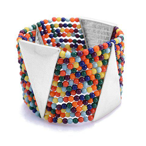 Bohemian Colored Beaded Wide Strand Bracelet For Women - COLOR ASSORTED