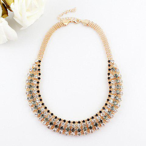 Gorgeous Rhinestoned Camber Shape Alloy Necklace For Women - AS THE PICTURE