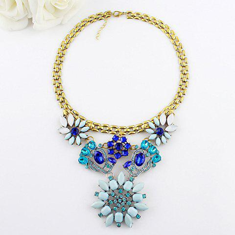 Faux Gem Openwork Flower Shape Alloy Necklace - AS THE PICTURE