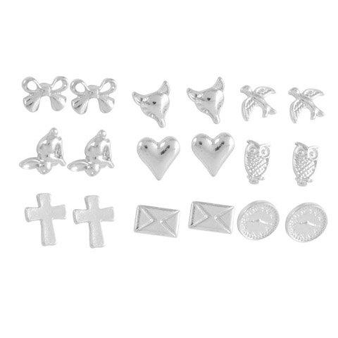 9 Pairs of Alloy Bowknot Cross Fox Owl Earrings - COLOR ASSORTED