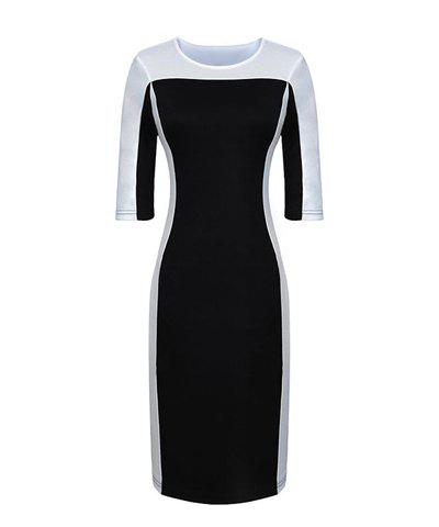 Fashionable Round Collar Color Block Half Sleeve Bodycon Women's Dress - BLACK L