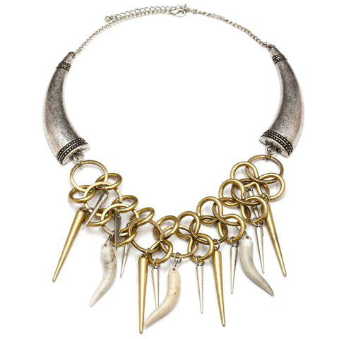 Vintage Ox Horn Pendant Alloy Necklace For Women - COLOR ASSORTED