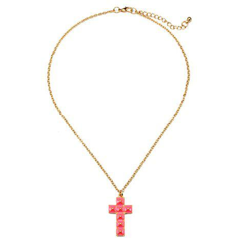 Chic Colored Cross Pendant Alloy Necklace For Women - COLOR ASSORTED