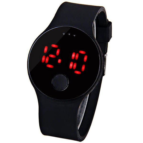 Waterproof Rubber Band Red LED Watch with Number Hour Marks Round Shaped