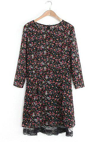 Sweet Round Collar Tiny Floral Print Zipper Lace Hem 3/4 Sleeve Women's Dress - AS THE PICTURE S