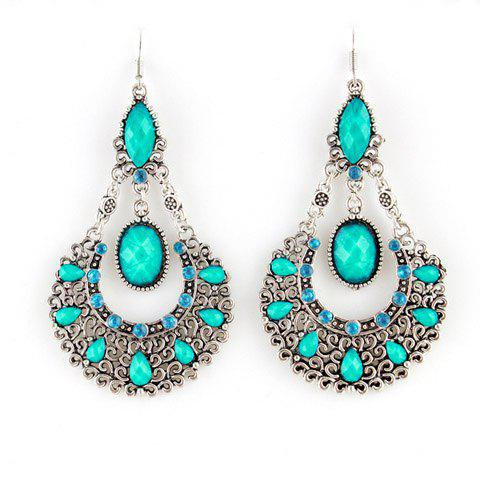 Pair of Bohemian Openwork Waterdrop Shape Earrings -  BLUE