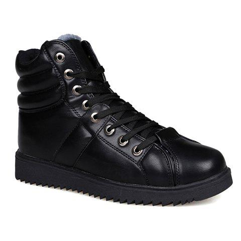 Stylish Solid Color and Lace-Up Design Men's Casual Shoes - BLACK 41