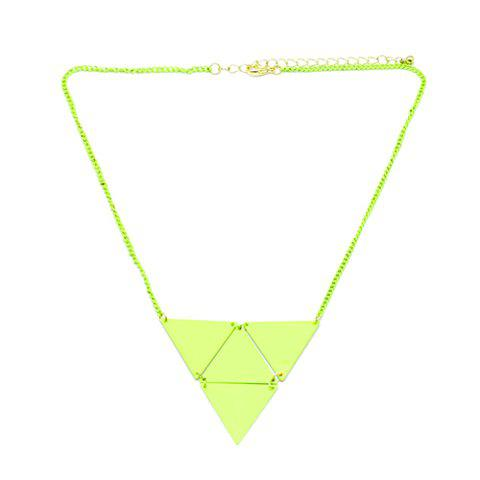 Simple Solid Color Triangle Pendant Alloy Necklace For Women - COLOR ASSORTED