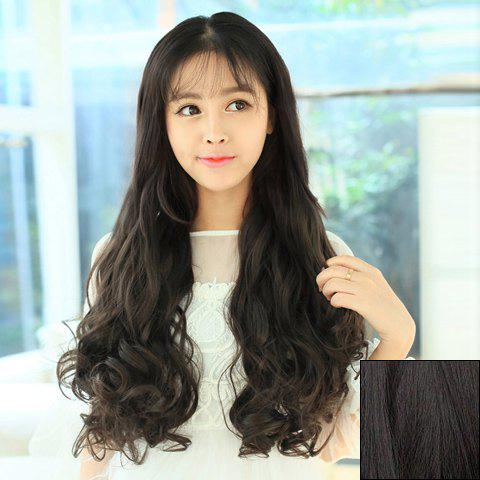 Casual Style Long Wavy High Temperature Fiber Hair Extension For Women - BLACK BROWN
