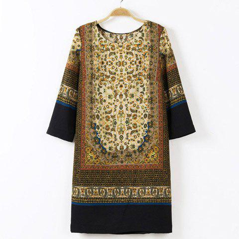 Retro Style Round Collar Printing Color Splicing 3/4 Sleeve Straight Women's Dress - KHAKI S