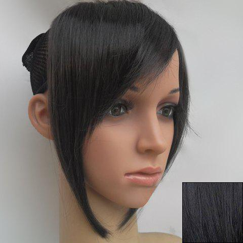 Elegant Sideburns Embellished Straight Synthetic Inclined Bang For Women - BLACK