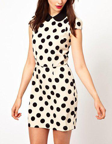 Sweet Peter Pan Collar Polka Dots Color Splicing Short Sleeves Women's Dress - AS THE PICTURE S