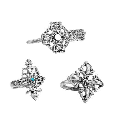 3PCS of Retro Style Diamante Hollow Alloy Rings For Women - COLOR ASSORTED ONE SIZE