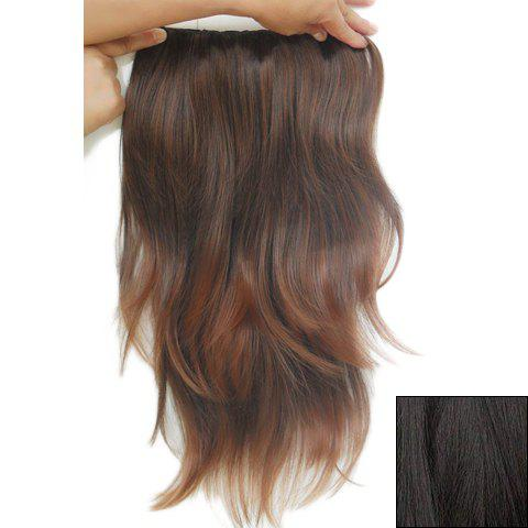 Fashionable Long Slightly Curled High Temperature Fiber Hair Extension For Women - BLACK BROWN