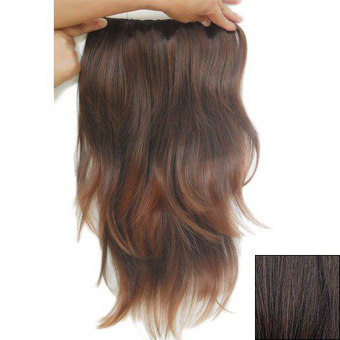 Fashionable Long Slightly Curled High Temperature Fiber Hair Extension For Women - DEEP BROWN