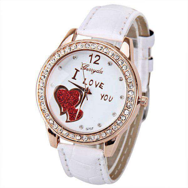 Quartz Watch with Small Diamond Dots Indicate Leather Watch Band Hearts Pattern Dial for Women стоимость
