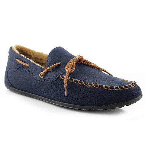 Trendy Solid Color and Stitching Design Men's Loafers - BLUE 41