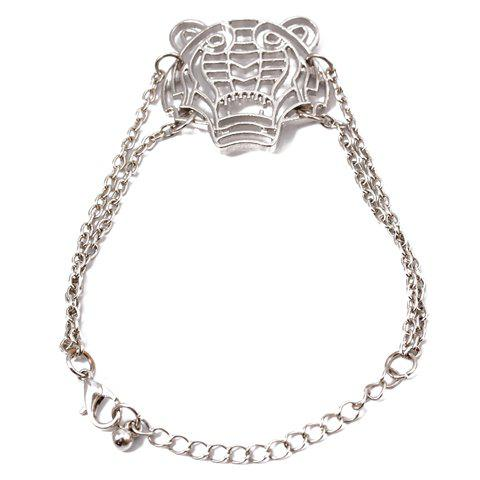 Punk Hollow Leopard Head Embellished Charm Bracelet For Women