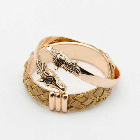 2PCS of Dragon Head Embellished Cuff Bracelets For Women - COLOR ASSORTED