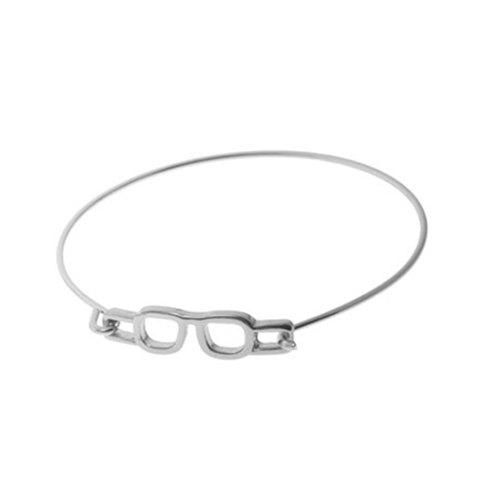 Fashion Simple Glasses Embellished Charm Bracelet For Women simple arrow and bird embellished knitted charm bracelet for women