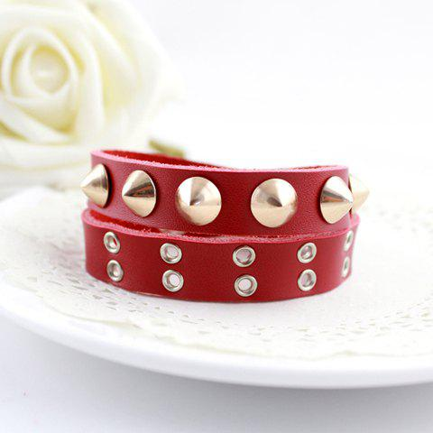 Rivet Embellished Faux Leather Bracelet - COLOR ASSORTED