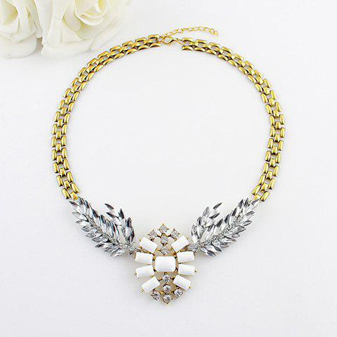 Hollow Out Leaf Embellished Alloy Necklace -  WHITE