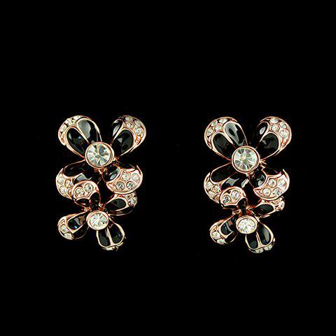 Pair of Diamante Glazed Flower Earrings - BLACK