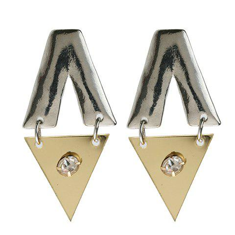 Pair of Simple Diamante Triangle Pendant Earrings For Women - SILVER