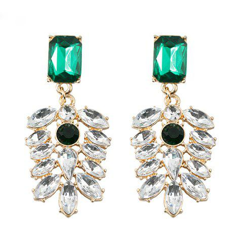 Pair of Exquisite Diamante Leaf Shape Pendant Earrings For Women - AS THE PICTURE