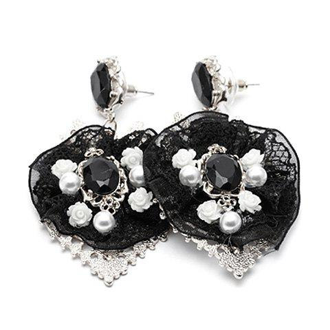 Pair of Chic Beaded Lace Earrings For Women - SILVER