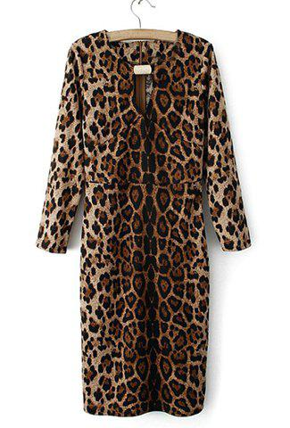 Sexy Style Leopard Print Breast Hollow Out Long Sleeves Women's Dress - LEOPARD M