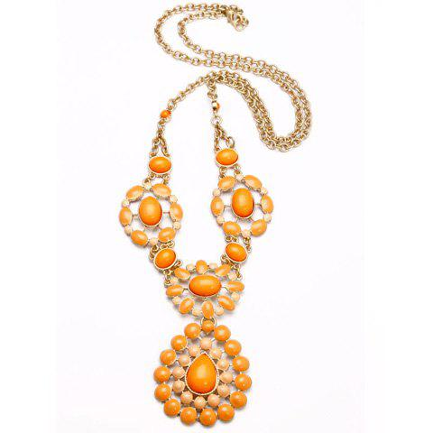 Resin Flower Pendant Alloy Necklace - YELLOW