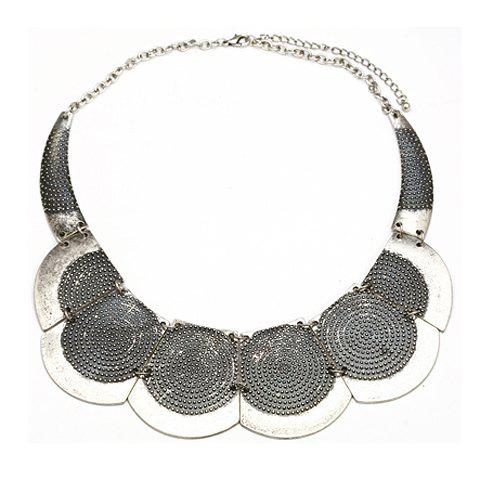 Vintage Figured Alloy Pendant Fake Collar Necklace For Women - SILVER
