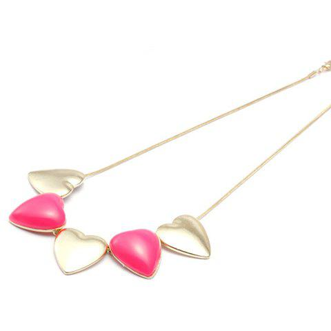 Sweet Colored Heart Pendant Alloy Necklace For Women - COLOR ASSORTED