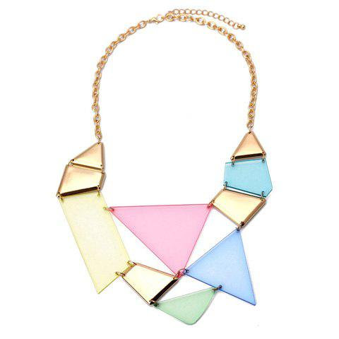 Chic Colored Triangle Pendant Alloy Necklace For Women - COLOR ASSORTED