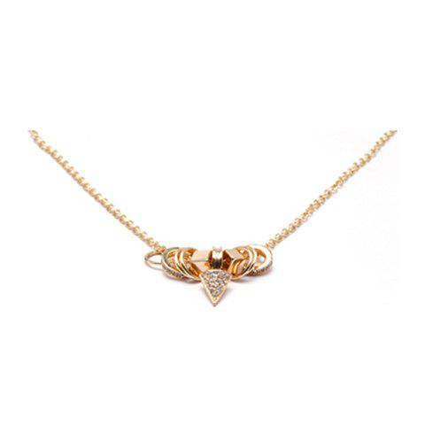 Exquisite Diamante Triangle and Hollow Ring Pendant Alloy Necklace For Women - GOLD