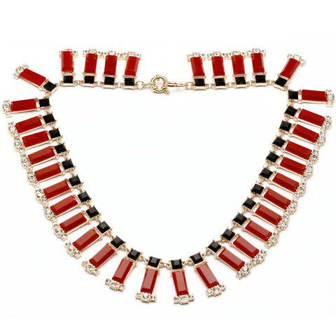 Chic Diamante Colored Faux Gemstone Fake Collar Necklace For Women - COLOR ASSORTED