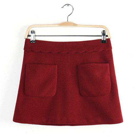 Sophisticated Wave Cut Zipper Pockets Solid Color Women's Skirt - RED L