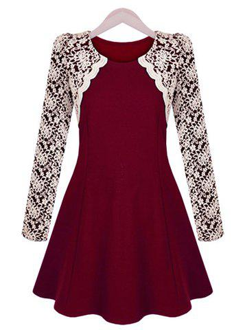 Sophisticated Round Collar Color Block Embroidery Lace Long Sleeves Pleated Dress For Women - WINE RED M