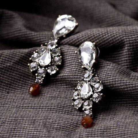 Pair of Trendy Chic Faux Crystal Pendant Earrings For Women - AS THE PICTURE