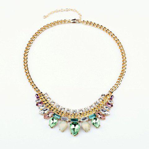 Fresh Style Light Color Faux Crystal Waterdrop Pendant Alloy Necklace For Women