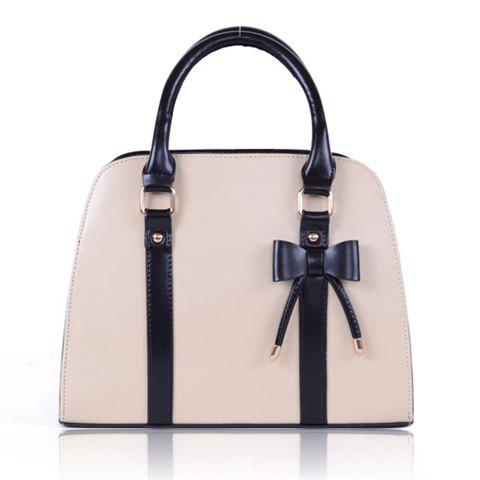 Fashion Candy Color and Bow Design Tote Bag For Women - BEIGE