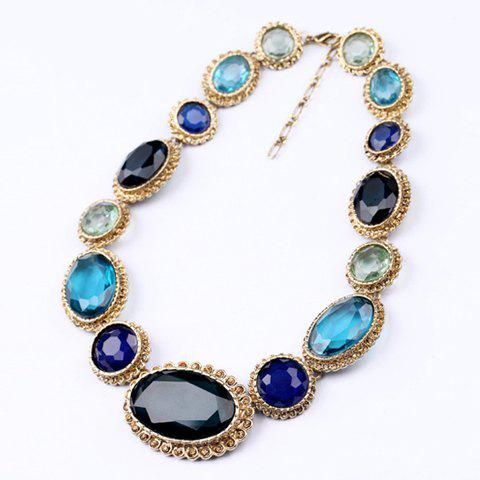 Exquisite Polychrome Oval Faux Gemstone Necklace For Women - BLUE