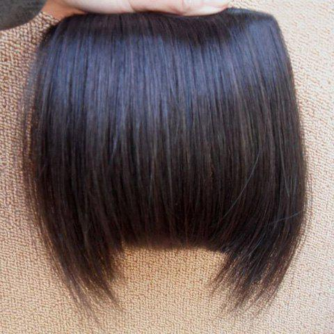 Fashion Fluffy Human Hair Women's Straight Full Bangs With Sideburns (Natural Black) - BLACK