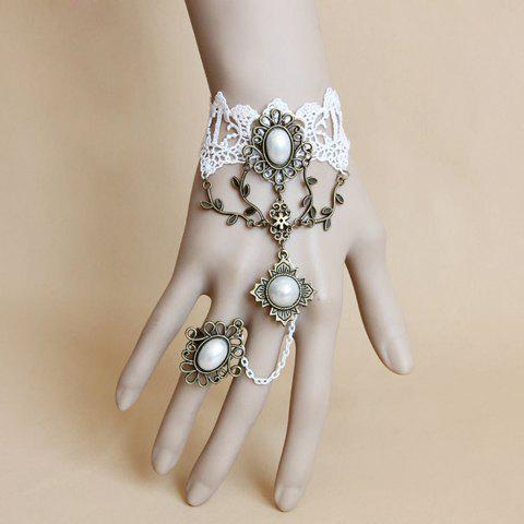 Faux Pearl Lace Charm Bracelet With Ring - AS THE PICTURE ONE SIZE
