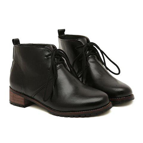 Pretty Lace-Up and PU Leather Design Black Short Boots For Women