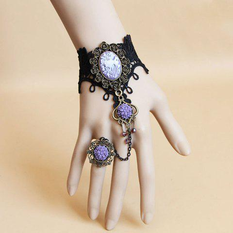 Romantic Purple Flower Embellished Lolita Lace Charm Bracelet With Ring For Women