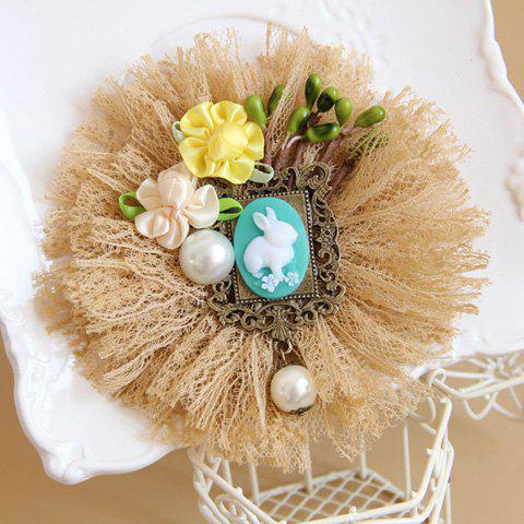 Fresh Style Beaded Flower Embellished Lace Brooch For Women - AS THE PICTURE