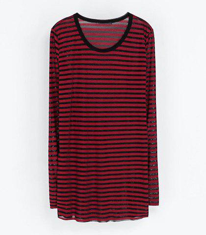 Casual Round Collar Striped Design Long Sleeves Women's T-shirt - STRIPES S