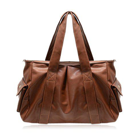 Casual Stitching and Solid Color Design Shoulder Bag For Women - BROWN